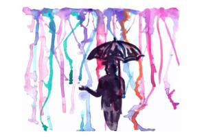 colored rain and man with umbrella