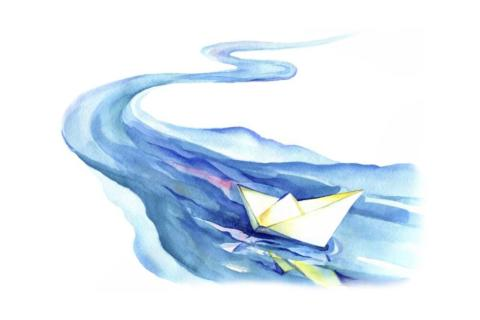 river with paper boat