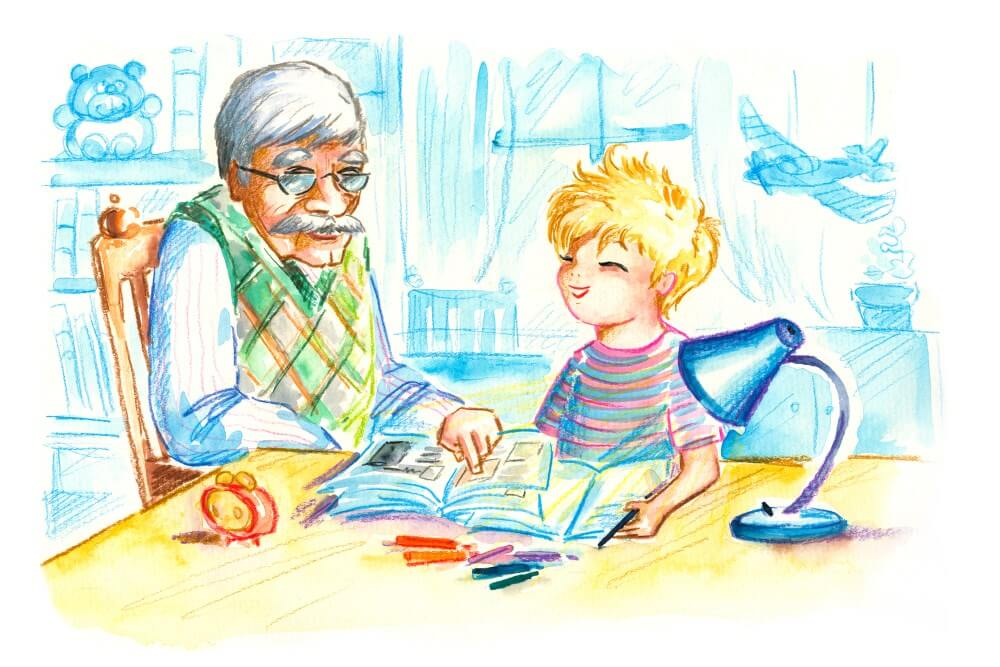 older man and child reading