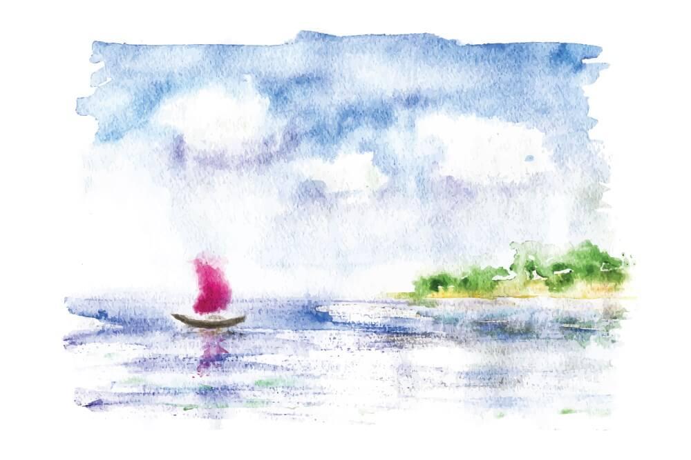 sailboat approaching shore