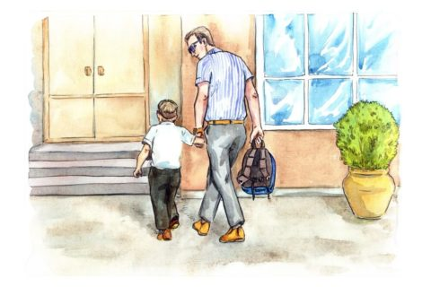 dad and son going into school