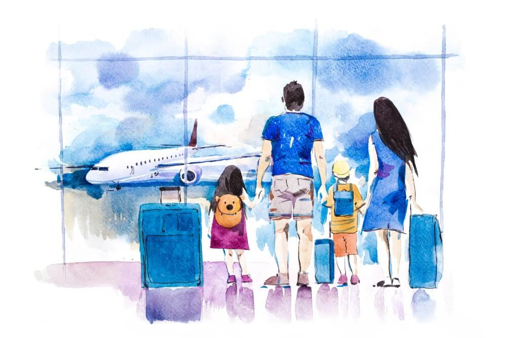 family looking out from airport