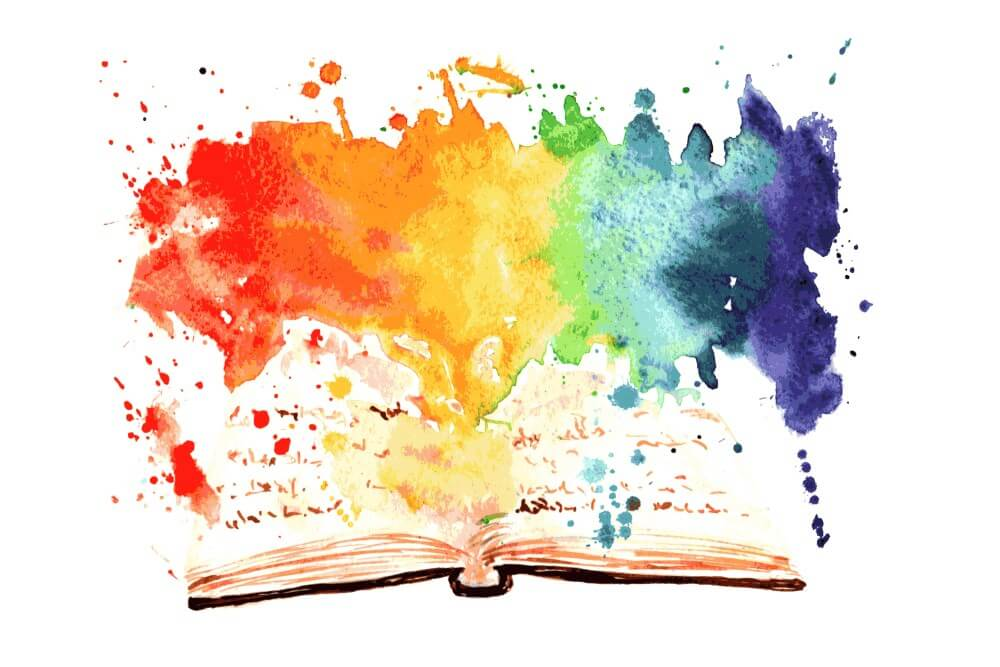 book with paint splashes