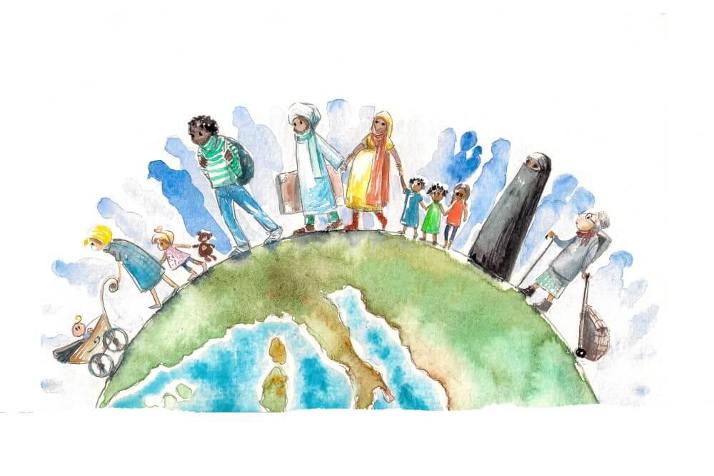 globe with multi ethnic people on it