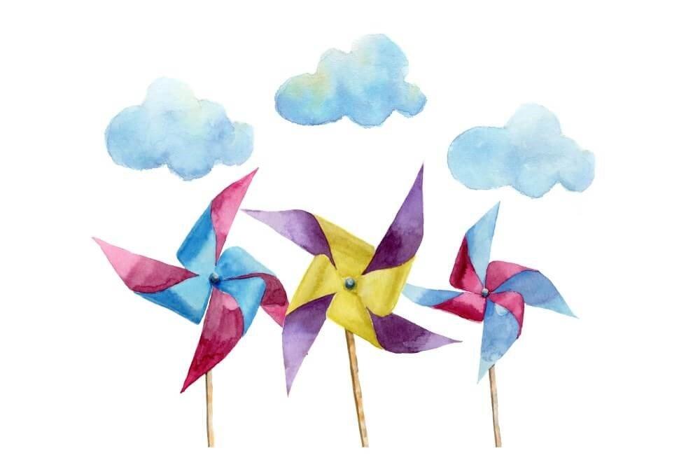 pinwheels and clouds